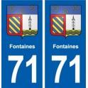 71 Fontaines blason autocollant plaque stickers ville