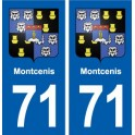 71 Montcenis blason autocollant plaque stickers ville
