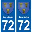 72 Bonnétable blason autocollant plaque stickers ville