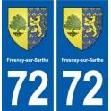72 Fresnay-sur-Sarthe blason autocollant plaque stickers ville
