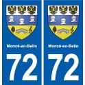 72 Moncé-en-Belin blason autocollant plaque stickers ville