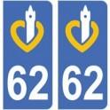 62 Pas-de-Calais autocollant plaque