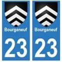 23 Bourganeuf autocollant plaque blason armoiries stickers département