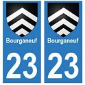 23 Bourganeuf autocollant plaque blason armoiries stickers département