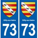 73 Gilly-sur-Isère coat of arms sticker plate registration city