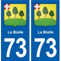 73 The Biolle coat of arms sticker plate registration city