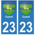 23 Gueret autocollant plaque blason armoiries stickers département