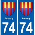 74 Amancy blason autocollant plaque stickers ville