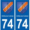 74 Anthy-sur-Léman blason autocollant plaque stickers ville