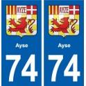74 Ayse blason autocollant plaque stickers ville