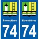 74 Étrembières blason autocollant plaque stickers ville