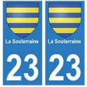 23 La Souterraine autocollant plaque blason armoiries stickers département