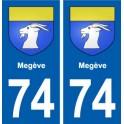 74 Megève blason autocollant plaque stickers ville