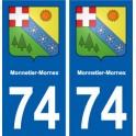 74 Monnetier-Mornex blason autocollant plaque stickers ville