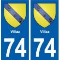74 Villaz coat of arms sticker plate stickers city