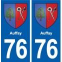 76 Auffay blason autocollant plaque stickers ville