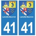 41 Lamotte-Beuvron autocollant plaque blason armoiries stickers département ville