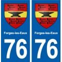 76 Forges-les-Eaux blason autocollant plaque stickers ville