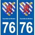 76 Tourville-la-Rivière coat of arms sticker plate stickers city