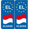 EL europe drapeau Elsass autocollant plaque sticker plaque