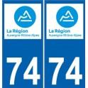 74 Haute Savoie Rhône Alpes nouveau logo autocollant plaque
