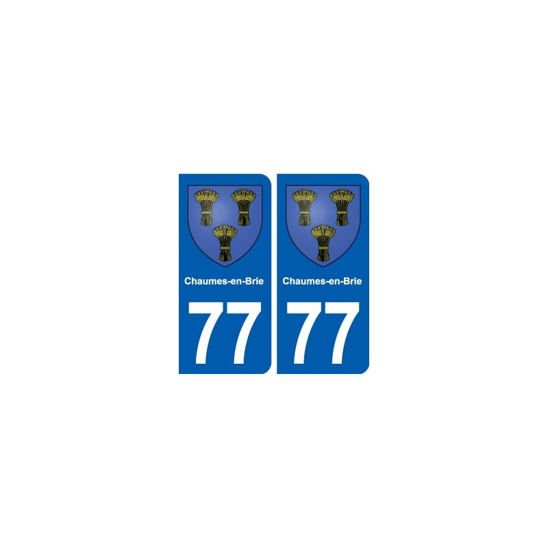 77 chaumes en brie blason autocollant plaque immatriculation stickers ville. Black Bedroom Furniture Sets. Home Design Ideas