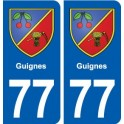 77 Guignes coat of arms sticker plate stickers city