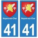 41 Noyers-sur-cher autocollant plaque blason armoiries stickers département ville