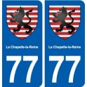 77 La Chapelle-la-Reine coat of arms sticker plate stickers city
