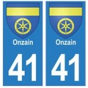 41 Onzain autocollant plaque blason armoiries stickers département ville