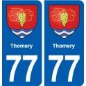 77 Thomery blason autocollant plaque stickers ville