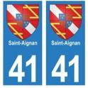 41 Saint-Aignan autocollant plaque blason armoiries stickers département ville