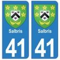 41 Salbris autocollant plaque blason armoiries stickers département ville