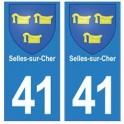 41 Selles-sur-Cher autocollant plaque blason armoiries stickers département ville
