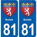 81 Burlats blason autocollant plaque stickers ville