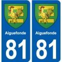 81 Aiguefonde blason autocollant plaque stickers ville