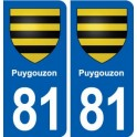 81 Puygouzon coat of arms sticker plate stickers city