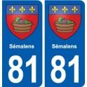 81 Sémalens coat of arms sticker plate stickers city