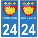 24 Sarlat-la-Canéda autocollant plaque blason armoiries stickers département