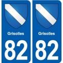 82 Grisolles blason autocollant plaque stickers ville