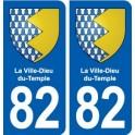 82 La Ville-Dieu-du-Temple blason autocollant plaque stickers ville