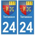 24 Terrasson autocollant plaque blason armoiries stickers département