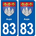 83 Aups coat of arms sticker plate stickers city