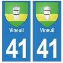 41 Vineuil autocollant plaque blason armoiries stickers département ville