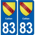 83 Callian blason autocollant plaque stickers ville