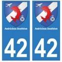 42 Andrézieux-Bouthéon autocollant plaque blason armoiries stickers département