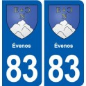 83 Évenos coat of arms sticker plate stickers city