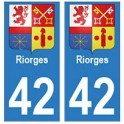 42 Riorges autocollant plaque blason armoiries stickers département