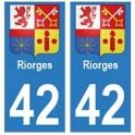 42 Riorges autocollant plaque blason armoiries stickers département