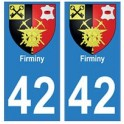 42 Firminy autocollant plaque blason armoiries stickers département